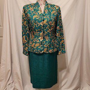 Papell Green Gold Skirt Top Long Sleeve Set